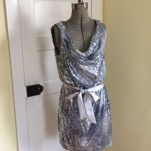 Aidan Mattox Silver Sequin Dress